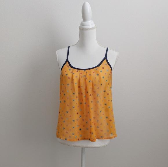 Vera Wang Princess Orange Floral Sheer Tank